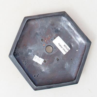 Bonsaischale aus Keramik 16 x 14,5 x 3,5 cm, metallfarben - 3