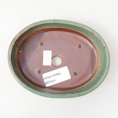 Bonsaischale aus Keramik 13 x 10,5 x 3,5 cm, Farbe grün - 3