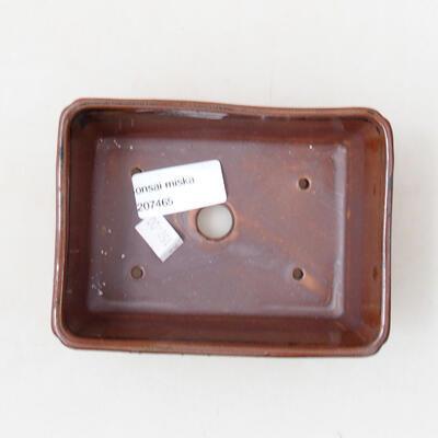 Bonsaischale aus Keramik 12,5 x 9 x 4,5 cm, Farbe braun-schwarz - 3