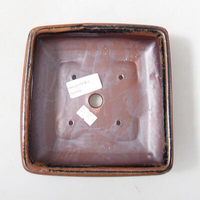 Keramik-Bonsaischale 15 x 15 x 5,5 cm, Farbe braun-schwarz - 3