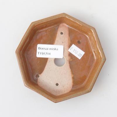Keramik Bonsai Schüssel 11,5 x 11,5 x 2 cm, braune Farbe - 3