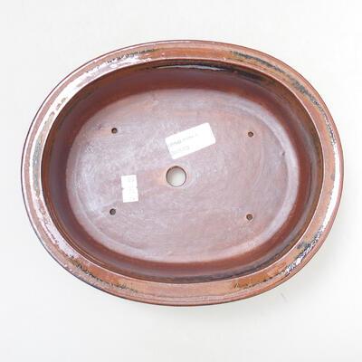 Bonsaischale aus Keramik 22 x 17,5 x 7,5 cm, Farbe braun-schwarz - 3