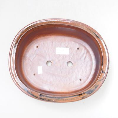 Bonsaischale aus Keramik 25 x 20,5 x 8 cm, Farbe braun-schwarz - 3