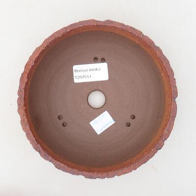 Bonsaischale aus Keramik 15,5 x 15,5 x 5,5 cm, rissige Farbe - 3