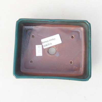 Keramische Bonsai-Schale 14 x 10,5 x 3,5 cm, Farbe grün - 3