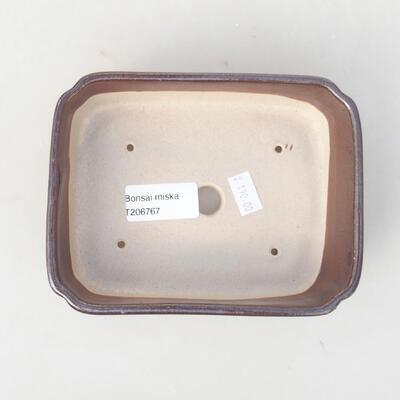 Keramische Bonsai-Schale 15 x 11,5 x 4 cm, braune Farbe - 3