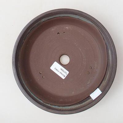 Bonsaischale aus Keramik 21 x 21 x 4 cm, Farbe braun - 3