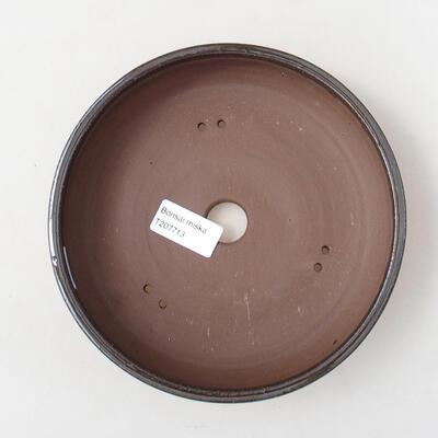 Bonsaischale aus Keramik 18 x 18 x 5 cm, Farbe braun - 3