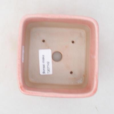 Bonsaischale aus Keramik 10 x 10 x 8 cm, Farbe rosa - 3