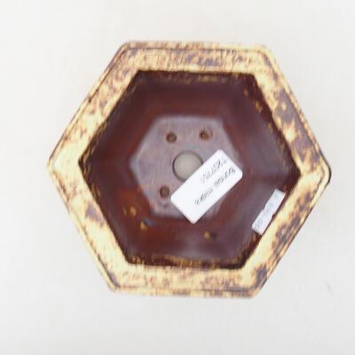 Bonsaischale aus Keramik 12 x 10,5 x 7,5 cm, Farbe gelb-braun - 3
