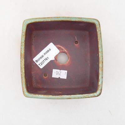 Bonsaischale aus Keramik 10 x 10 x 7 cm, Farbe grün - 3