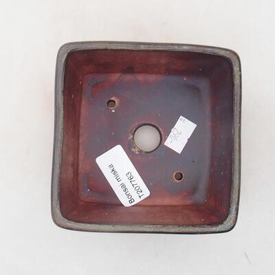 Bonsaischale aus Keramik 10 x 10 x 7 cm, Farbe braun-grau - 3