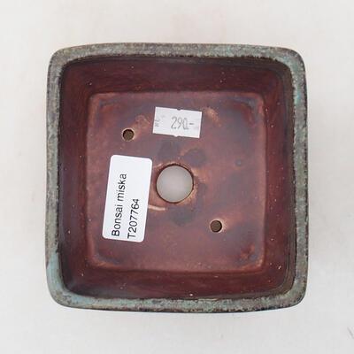 Bonsaischale aus Keramik 10 x 10 x 7 cm, Farbe grün-braun - 3