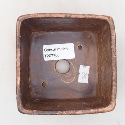 Bonsaischale aus Keramik 10 x 10 x 7 cm, Farbe braun-rosa - 3
