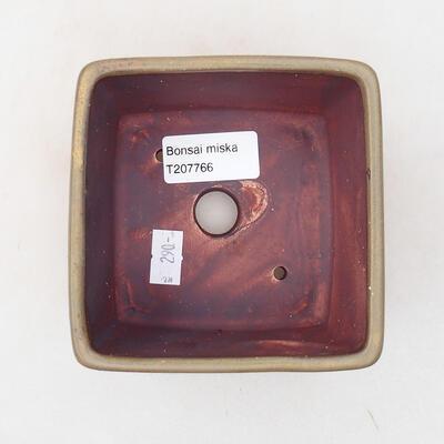 Bonsaischale aus Keramik 10 x 10 x 7 cm, Farbe braun - 3