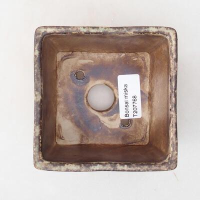 Bonsaischale aus Keramik 10 x 10 x 7,5 cm, braune Farbe - 3