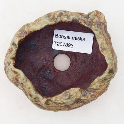 Keramikschale 7 x 5,5 x 5,5 cm, braun-grüne Farbe - 3