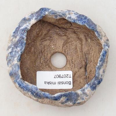 Keramikschale 7,5 x 7 x 4,5 cm, braun-blaue Farbe - 3