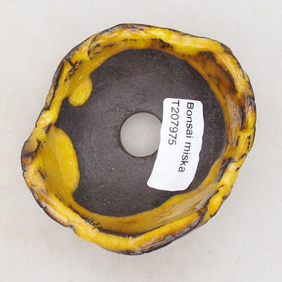 Keramikschale 7,5 x 7,5 x 5 cm, gelbe Farbe - 3