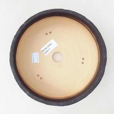 Bonsaischale aus Keramik 19 x 19 x 7 cm, Farbe Rissgelb - 3
