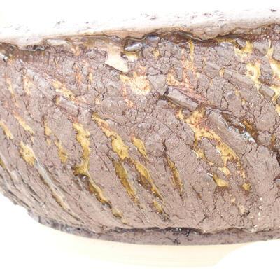 Bonsaischale aus Keramik 20 x 20 x 7 cm, Farbe Rissgelb - 3