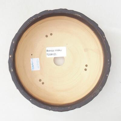 Bonsaischale aus Keramik 16,5 x 16,5 x 6,5 cm, rissige rote Farbe - 3