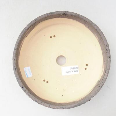 Bonsaischale aus Keramik 19,5 x 19,5 x 6,5 cm, Farbe grau-blau - 3