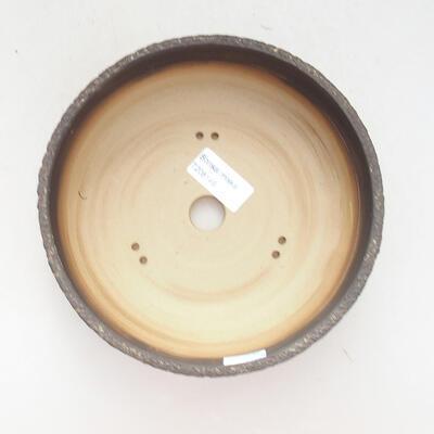 Bonsaischale aus Keramik 18 x 18 x 6 cm, Farbe grau-gelb - 3