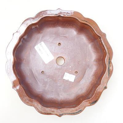 Bonsaischale aus Keramik 16 x 15,5 x 5 cm, Farbe braun-schwarz - 3