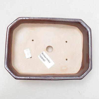 Bonsaischale aus Keramik 12,5 x 17,5 x 4 cm, metallfarben - 3