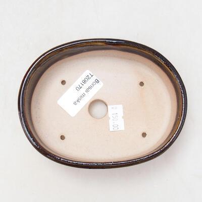 Bonsaischale aus Keramik 12 x 9 x 3,5 cm, Farbe schwarz-gelb - 3