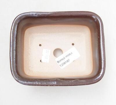 Bonsaischale aus Keramik 12 x 9 x 5,5 cm, braune Farbe - 3