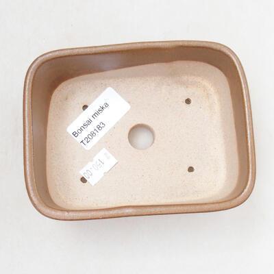 Bonsaischale aus Keramik 11,5 x 8,5 x 5 cm, braune Farbe - 3