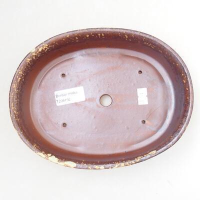 Bonsaischale aus Keramik 21 x 16 x 5 cm, Farbe braun-gelb - 3