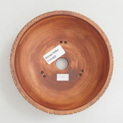 Keramik Bonsai Schüssel 16 x 16 x 5,5 cm, braun-gelbe Farbe - 3