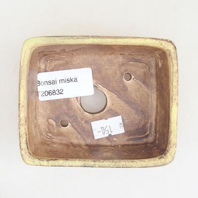 Keramische Bonsai-Schale 9,5 x 8 x 3,5 cm, Farbe gelb - 3