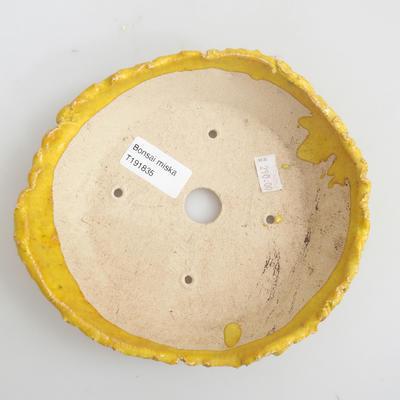 Keramik Bonsai Schüssel 17 x 17 x 4 cm, gelbe Farbe - 3
