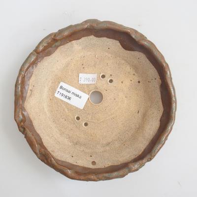 Keramik Bonsai Schüssel 17 x 17 x 4 cm, braune Farbe - 3