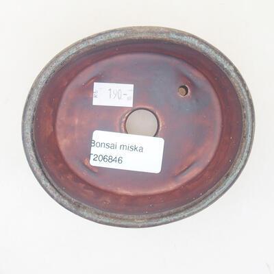 Keramische Bonsai-Schale 10,5 x 9 x 4,5 cm, Farbe braun-grün - 3