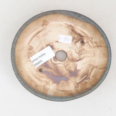 Keramische Bonsai-Schale 14 x 13 x 3,5 cm, braun-grüne Farbe - 3