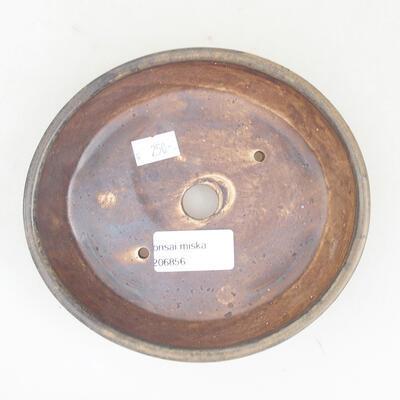 Keramische Bonsai-Schale 14 x 13 x 3,5 cm, Farbe braun - 3