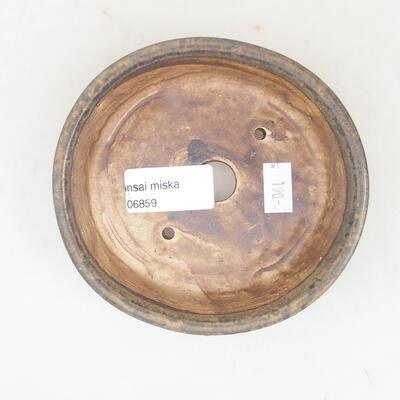 Keramische Bonsai-Schale 12 x 11 x 3 cm, braune Farbe - 3
