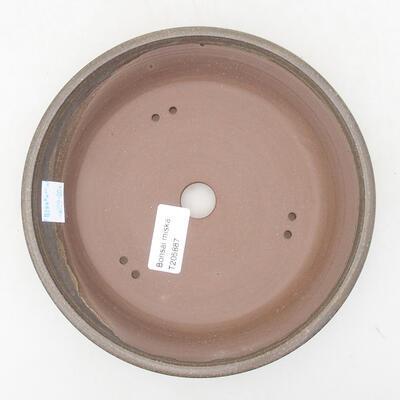 Keramische Bonsai-Schale 18,5 x 18,5 x 3,5 cm, braune Farbe - 3