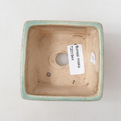 Keramische Bonsai-Schale 8 x 8 x 6 cm, Farbe grün - 3
