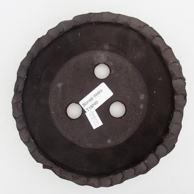 Keramik Bonsai Schüssel 18 x 18 x 5,5 cm, graue Farbe - 3