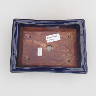 Keramik Bonsaischale 18 x 13 x 6 cm, Farbe blau - 3