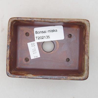Keramische Bonsai-Schale 9 x 7 x 4 cm, Farbe braun - 3