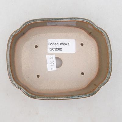 Keramische Bonsai-Schale 12 x 9,5 x 4,5 cm, Farbe grau-rostig - 3