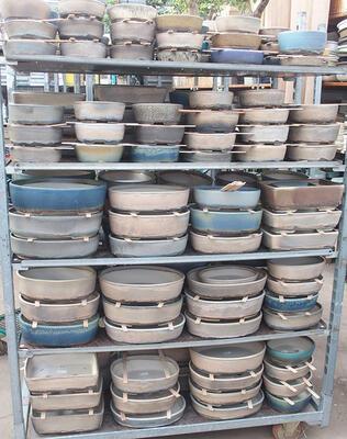 Bonsai-Schale 31 x 24,5 x 10 cm, Farbe beige-grau - 5